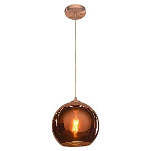 Access Lighting 28101-BCP/CP 28101 Glow Mirrored Glass Pendant in Brushed Copper