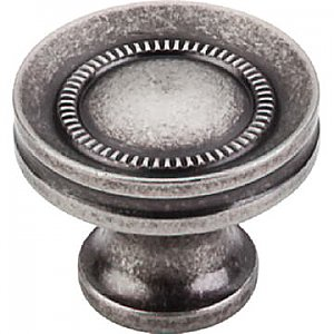 Top Knobs M294 Button Faced Knob 1 1/4 Inch in Pewter Antique