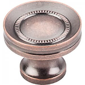 Top Knobs M297 Button Faced Knob 1 1/4 Inch in Antique Copper