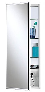 Jensen 704309X Meridian Medicine Cabinet with Beveled Mirror and Electrical Outlet