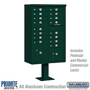 Salsbury 3316GRN-P Cluster Box Unit 16 A Size Doors Type III Private Access