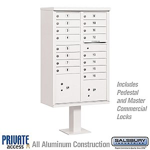 Salsbury 3316WHT-P Cluster Box Unit 16 A Size Doors Type III Private Access