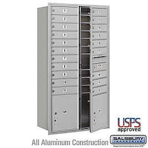 Salsbury 3716D-20AFU 4C Horizontal Mailbox Maximum Height Unit 56 3/4 Inches Double Column 20 MB1 Doors / 2 PL's Front Loading USPS Access